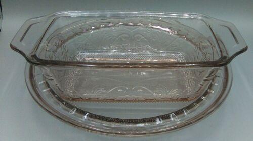 Anchor Hocking Glass Pink Laurel Deep Pie Dish + Loaf Pan 2 pcs
