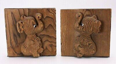 A Cryptomeria Wood Mid Century Carved Elephant Glass Eyes Vtg Pr Set 2 Bookends