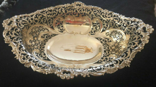 Gorham c 1873 Sterling Silver Baroque Style Large Footed Basket
