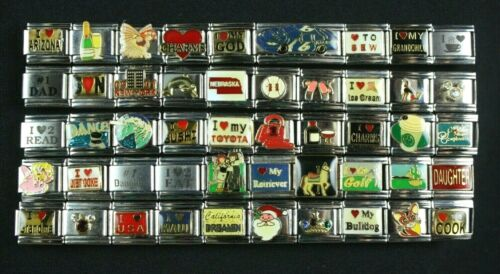 Italian Charms 50 assorted Stainless Steel Wholesale Lot 9mm  (C50-82)