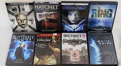 (8) Horror/Scary/Halloween DVDs: SAW 5-Disc Set, Hatchet, The Ring, White Noise](Halloween Horror Noises)