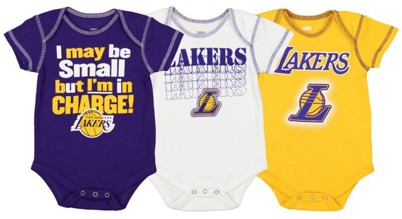 OuterStuff NBA Newborn/Infant Los Angeles Lakers 3-Piece Bodysuit Set