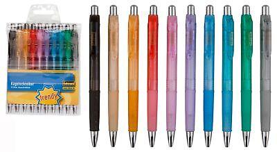 Druckkugelschreiber 30 3x 10 transluzente Farben Schreibfarbe blau