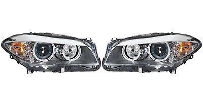 Pair Set of 2 Front Halogen Headlights Assiemblies Hella For BMW F10 535i 550i