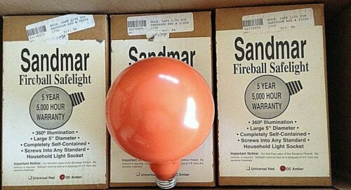"3 Vintage Sandmar OC Amber Fireball Safelight Darkroom Large 5"" Diameter #21204"