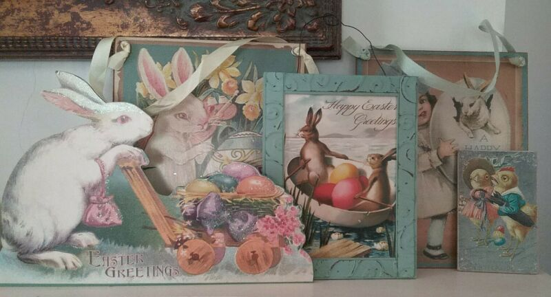 Lot 5,  Easter Decor Dummy Board Plaques &  Pictures, Spring Flowers Bunny Chick