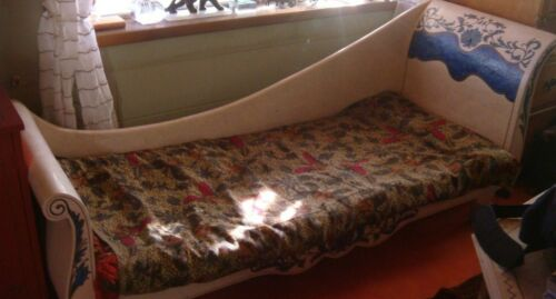 Vintage Lapis Turquoise Chaise Lounge Fainting Couch -
