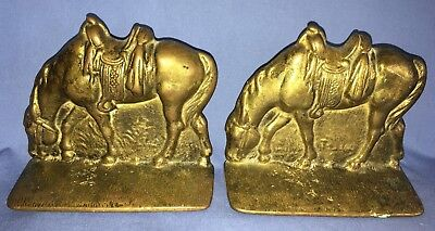 Vintage Pair of Heavy Metal Western Horse Bookends Equestrian Brass Color CANADA