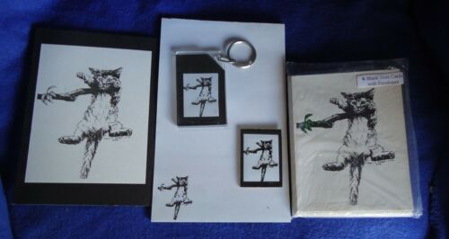 Hang in There Cat 5 Pc Set-Notepad, 6 Blank Notecards, Keychain, Print & Magnet