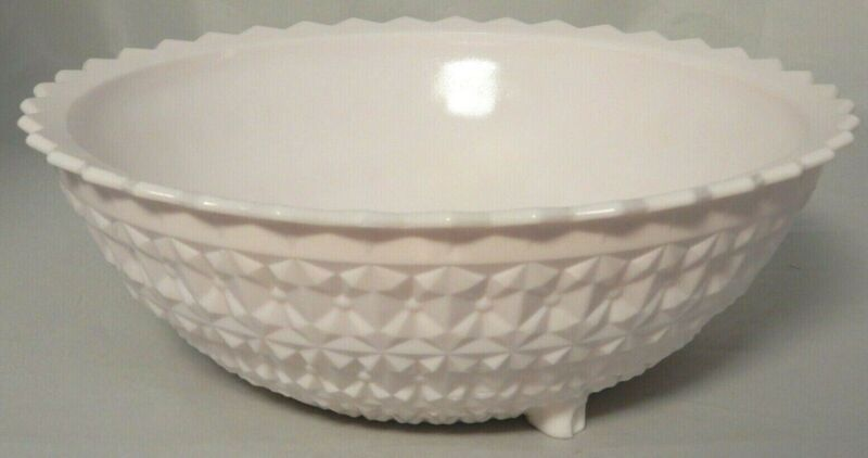 Vintage Pink Milk Glass Large Footed Serving Bowl Buttons & Bows Jeanette