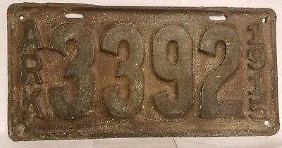 1915 Arkansas License Plate, All Original, Flat, Solid & No Extra Holes