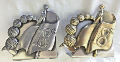 """Silvertone & Goldtone 6"""" Metal 18th Hole Book Ends Holder - Lot of 2"""