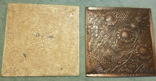 TIN CEILING TILE WALL ART ~~ 2 PIECES