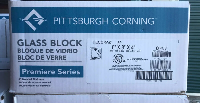 (8) Vintage Glass Block 8x8x4 NEW Pittsburgh Corning Clear Waves Frosted Edges