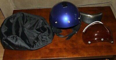 VESPA DEMI JET Blue Black Scooter Helmet with Visor Shield Carry Case  XL