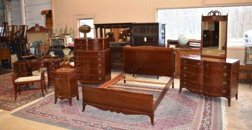 Antique Mahogany Bedroom Set, 6 Pieces by Williamsport Furniture Co.