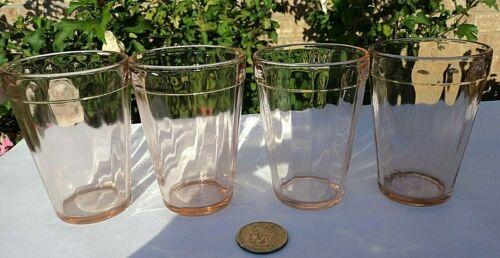 Vintage HAZEL ATLAS PINK Ribbed Optic DEPRESSION GLASS JUICE TUMBLERS SET OF 4