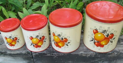 Vintage Metal 4 Pc Nesting Decoware Cannister Set, Peaches & Strawberries