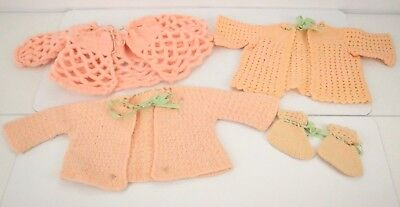 Vtg 50s 60s Crochet Pink Baby/ Doll Clothes Lot Cardigan Sweater Booties Ribbon](50s Baby Clothes)