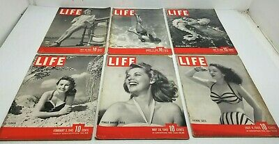 Lot of 6 Vtg 1940s LIFE Magazine WW2 Era All SWIMSUIT COVERS Great Advertising