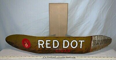 ANTIQUE RED DOT CIGARS NOS EASEL BACK COUNTRY STORE TOBACCO SIGN IN ENVELOPE WOW