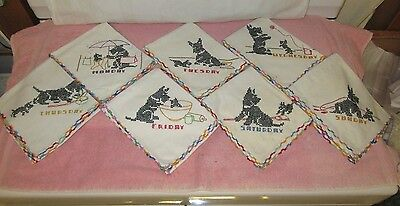 Vintage Set of 7 Hand Embroidered w/Crochet Tea Towels-Scottie Dogs-Days of Week