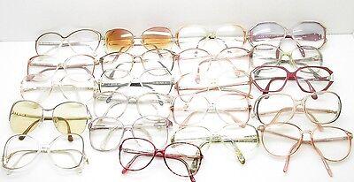 SET of 21 VINTAGE WOMENS OVERSIZED EYEGLASSES FRAMES eyewear bulk lot TV6 S105