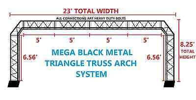 BLACK TRUSS ARCH KIT 23FT Width Mobile Portable DJ Lighting System Metal Bolts