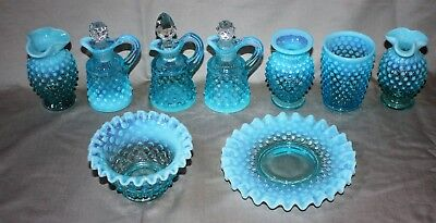 Vintage Blue Opalescent Hobnail Glass Lot Vases Dish Bowl Unknown Makers