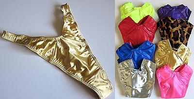 1 NEW VINTAGE 90s High-Hip Low-Body V-Cut Shiny Thong Bikini Panty Lingerie S-L