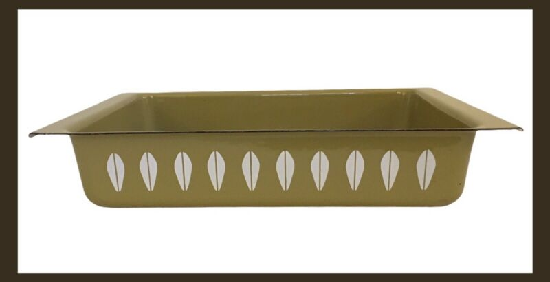 Vintage CATHRINEHOLM Lotus Olive/Avocado Green & White Casserole/Lasagna Pan