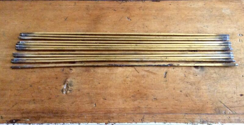 12 Antique Solid Brass Stair Rods