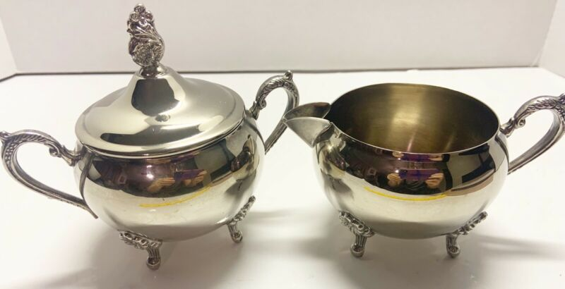 Vintage Ornate Silverplate Creamer and Sugar Bowl With Lid 3 Pieces