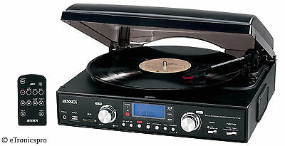 NEW BLACK JENSEN HOME STEREO AM / FM RADIO 3-SPEED VINYL RECORD PLAYER TURNTABLE