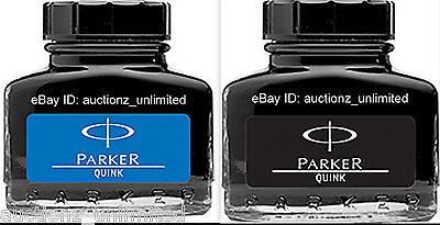 2 Parker Quink -1 Qty Blue + 1 Qty Black Ink Bottle (30 Ml each) 1 oz New Sealed
