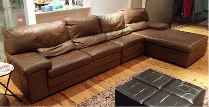 Cow Hide Leather 4Seater Lounge + Chaise & Recliner Kyle Bay Kogarah Area Preview