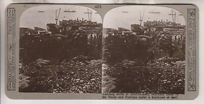 WWI BRITISH STEREOVIEW - LANDING STORES AT SEDD-UI-BAHR TAKEN BY THE (The Landing Stores)