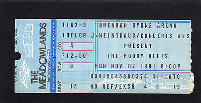 1981 Moody Blues concert ticket stub Meadowlands Long Distance Voyager Halloween ()