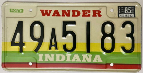 1985 INDIANA License Plate - IN #49A5183