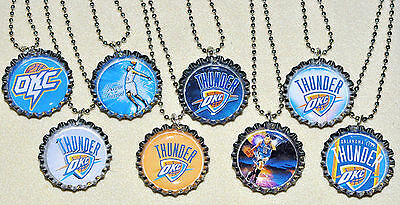 SET of 8- OKLAHOMA CITY THUNDER  BOTTLECAP NECKLACES! Great party favors!