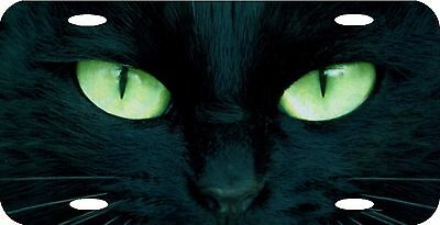"Cat's Eyes Black Cat Green Eyes License Plate 12""x6"" NEW HIGH QUALITY METAL"
