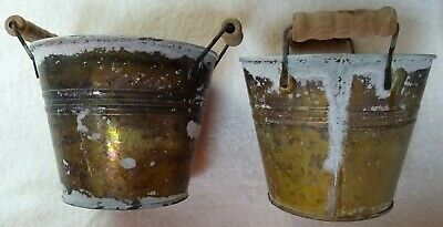 Small Tin Buckets (Decorative Tin Buckets with Wood Handles Small Rustic Weathered Look Lot of)