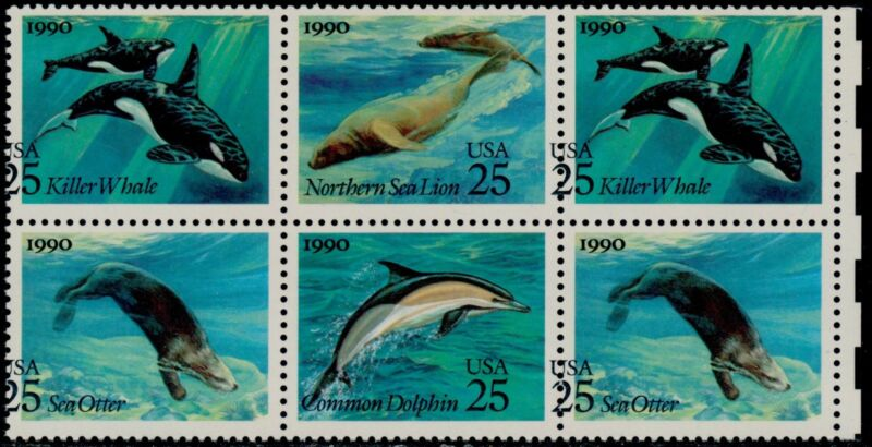 "#2508-11 Var. ""sea Creatures"" Whales Major Color Shift Error Blk/6 Bq6574"