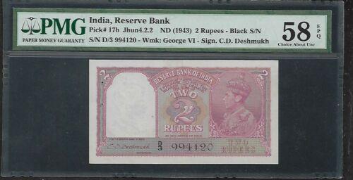 INDIA - Old 2 Rupee Note (1943)  P17b - PMG 58 AU