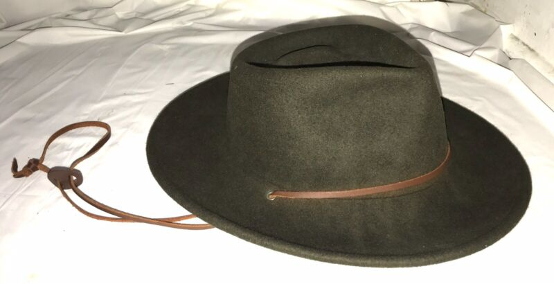 Vintage Official Brown Wool Boy Scout Hat - Medium (7-7-1/8)  leather drawstring