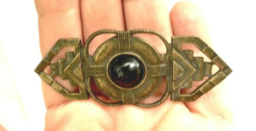 Vintage/Antique Bronze Art Deco Brooch/Pin - Black Glass Cabochon