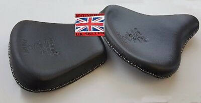 BLACK LEATHER STANDERED   HARLEY STYLE SADDLE SEATS TRIUMPH ROYAL ENFI