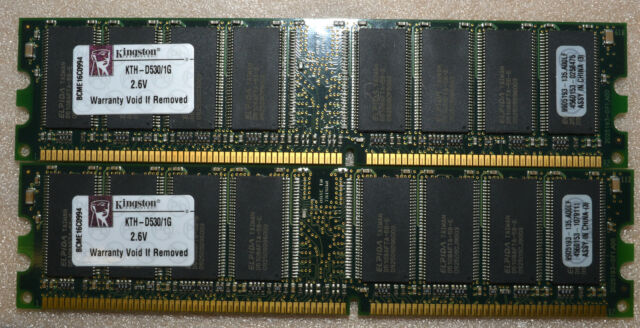 2 GB 2X1GB KINGSTON KTH-D530 PC3200 U DDR-400 MHZ MEMORY PC RAM DIMM 184 PIN