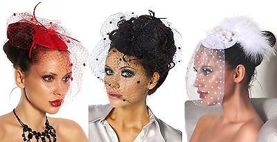Damen Minihut mit Schleier aus Tüll Fascinator Mini Hut Braut Hochzeit Abend