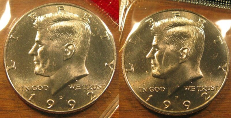 1992 P D Kennedy Half Dollar Coin Set 2 Brilliant Uncirculated Mint Set Coin